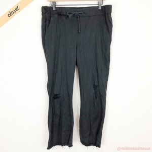 [Cloth & Stone] Black Distressed Raw Hem Pants